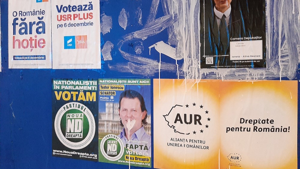 Verkiezingsposters in Boekarest